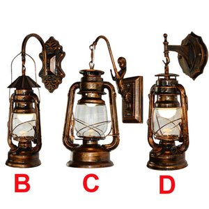 Wall Lamps Fashion Vintage Style Lantern Lamp Antique Copper Personalized Kerosene Iron LED Lights For Living Rooms Cafe Bar