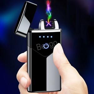 Touch Screen Switch USB Rechargeable Lighter Windproof Electronic Cigarette Lighters Double Fire Cross Twin Arc Smoking Tools BH4495 TQQ