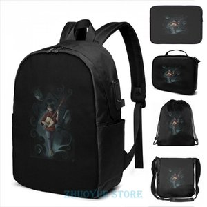 Backpack Funny Graphic Print While My Guitar Gently Weeps USB Charge Men School Bags Women Cosmetic Bag Travel Laptop