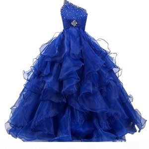 New Blue One Shoulder Wedding Princess Ball Gown Flower Girl Dresses Pageant Gowns Princess Organza Ruffles Tiered Crystal Custom Made