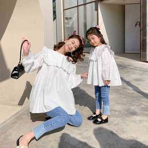Melario Family Matching Outffits Spring Autumn Mother and Daughter Blouses Girl Ruffles Shirts Korean Fashion Costumes 210412