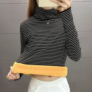 Warm high collar base coat women's thickened Plush long sleeve autumn and winter new style with striped T-shirt