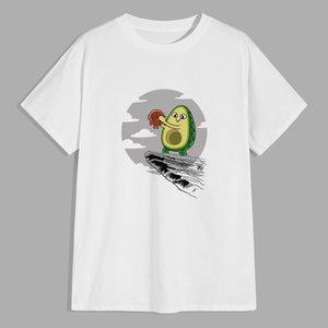 Молодежная футболка Мужская летняя мода свободный с коротким рукавом Trend круглые шеи сплошной цвет мультфильм печатная одежда