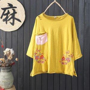Kleid F.-je Sommer Mode Frauen Tshirt Plus Größe lose Batwing Floral Sleeve Femme 100% Baumwolle Tops ZY02