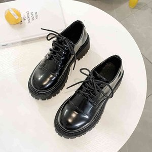 Dress Shoes Womens Round Toe Black Oxford for Casual Lace Up Flats Ladies Thick Sole Leather Loafers