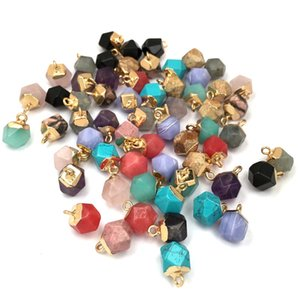 Polygon Section Gemstone Pendant Necklace Charms 8*12mm DIY Bracelet Necklaces Jewelry Findings Components Colorful 3 84qs Q2