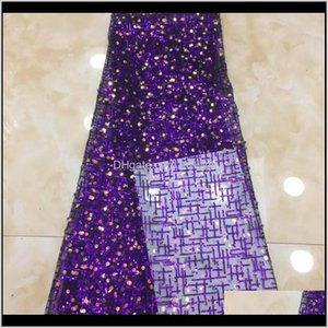 Ribbon Sewing &Tools Baby, Kids & Maternity Drop Delivery 2021 Sequins Fabrics Embroidery African Tulle Mesh Sequence Lace Fabric High Qualit