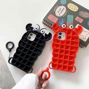 POP IT Fidget Toys Crayfish Pattern iPhone 12 Promax Case Accessors Simple Dimple Buddle Shell Teléfono para Apple X / 8 Plus GG317NMG