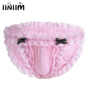 for Wholesale-iiniim Mens Panties Lingerie Sissy Maid Floral Lace Soft Bikini Briefs Underwear Underpamts Breathable Low-rise Underwear1