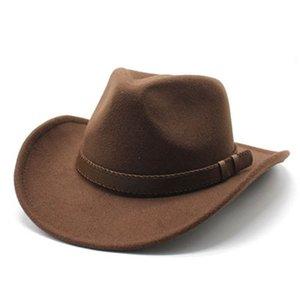 فيدورا القبعات الرجال النساء بنما الصلبة كبيرة حافة الغربية رعاة البقر جاز كاب شعرت الشريط الفرقة القهوة كاكي الجمل في الهواء الطلق عارضة الرجال قبعة