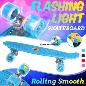 Skateboard 22in Mini Cruiser Kinder Roller Board Pastell Longboard Fish Skate Flashing Räder Banane Skateboarding