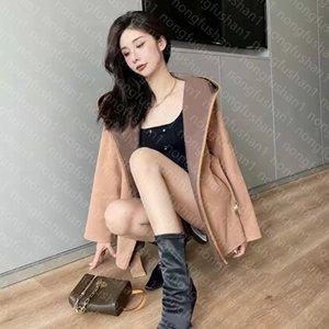 Дизайнер женские траншеи мода мода верхняя одежда с капюшоном куртка стиль письма с поясом тонкий наряд большие размеры куртки ветровка хаки и черное высокое качество