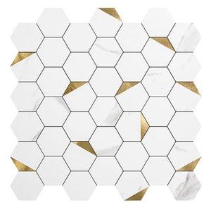 Art3d 10-stec 3D Duvar Çıkartmaları Kendinden Yapışkanlı Altıgen Mozaik Kabuğu Ve Sopa Backsplash Fayans Mutfak Banyo, Duvar Kağıtları (31x30cm)