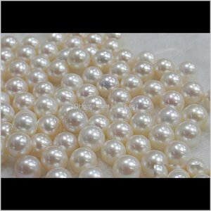 Jewelry Drop Delivery 2021 Wholesale 7-8Mm White Natural Pearl Perfect Circle Half Hole Loose Beads 0296 Fvayc