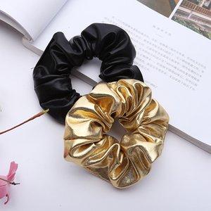 Hair Accessories PU Scrunchies Black Gold Scrunchie Women Elastic Hairbands Girl Headwear Rubber Ponytail Holder M3436