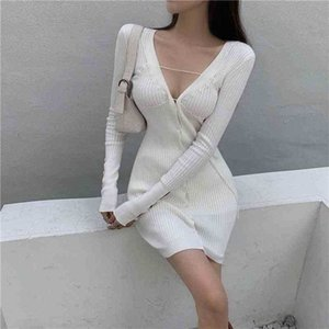 Abito a maniche lunghe a coste a coste knit sexy sexy mini bianco bianco autunno abito aderente con scollo a V viola maglione vestito signore nuovo 210324