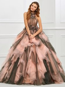 Women Blush Unique Halter Dresses Pleated Tulle Ball Gowns Long Floor Length Sleeveless Tiered Puffy Patchwork Quinceanera Dress Irregular Formal Evening Gown