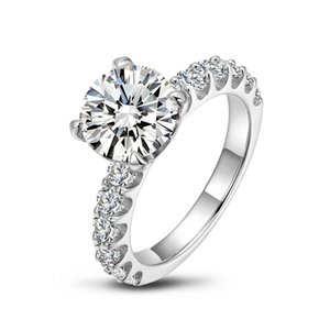 Female Ring 925 Silver Iinlaid 3CT Round Shape Simulation Diamond Wedding Or Engagement Ring Lovers Luxury Euro-American