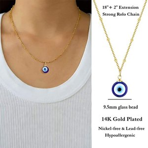 Lucky Blue Evil Eye Pendant Charms Necklace Paper Card Choker Necklace Pendant Link Chain Jewelry For Men Women Jewelry