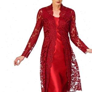 Womens Women Dress Elegante Dresses Two Pieces Charming Solid Mother of The Bride Lace Vestidos Noble Elegant Robe Femme D717