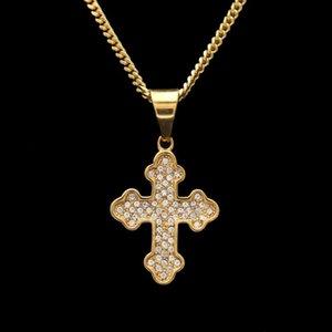 Hip Hop Stainless Steel Auspicious Cloud Corner Cross High Grade Out Rhinestone Necklace Men Jewelry Pendant Necklaces