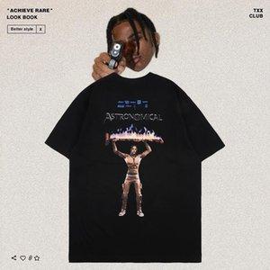 Scott Haute Quality Tris Co Marque Forteresse Nuit Périphérique à la mode T-shirt à manches courtes pour hommes et femmes