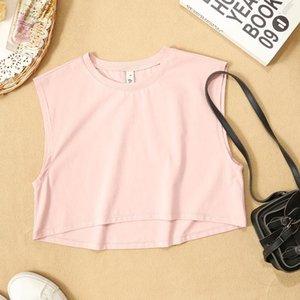Fashion Cotton Cropped Women T-Shirt Casual O-Neck Sleeveless Summer Short Tees Top M30725 Women's