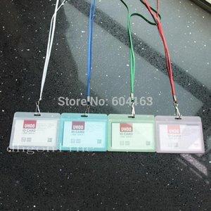 Storage Bags 4 Sets Horizontal ID Card Badge Holder Hard & Strap Lanyard Hook For Reel Retractable