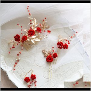 Bun Maker Tools Products Drop Delivery 2021 Dower Me Charming Red Flower Women Prom Headpiece Rhinestone Bridal Comb Wedding Headband Hair Pi