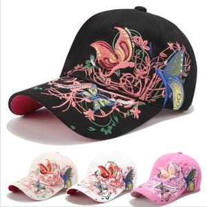 Korean sequin embroidered baseball butterfly embroidery cap, women's wholesale sun hat