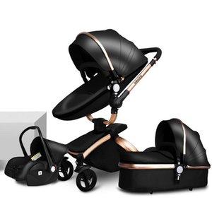 Carrinho de bebê 3 em-1 pode sentar, mentira, dobra, luz de viagem de luz, carro de bebê com assento de segurança, alta visão de luxo carrinho de criança