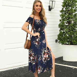 New Summer Puff Sleeve Slash Neck Asymmetrical Stampa breve Streetwear Natural Mid-Calf Sashes Sundress Vestidos MSFilia