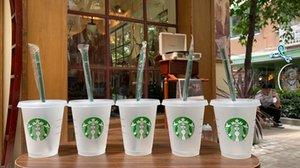 Starbucks Mermaid Dea 16oz 24oz Tumblers Tazze Succo di plastica Bere con labbro e paglia Magic Caffè Costom Coppa trasparenti 50pcs GRATIS DHL