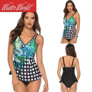 2021 Split Sexy Positioning Printed Swimsuit Tankini Water World Bikini