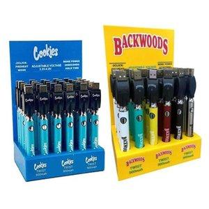 Cookies Backwoods Twist VV Батарея Предварительно нагревая Напряжение Регулируемая 900 мАч Vape Pen Cartridge 510 Эго с дисплейной коробкой 30 шт.