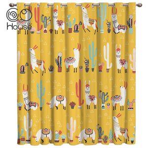 Curtain & Drapes Lovely Cactus Lama Alpaca Room Curtains Large Window Lights Bathroom Decor Bedroom Kids