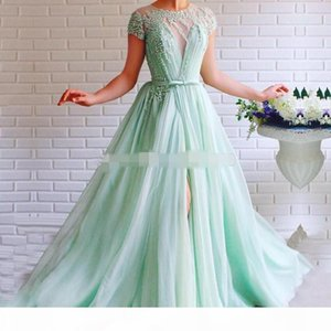 Mint Green Prom Dress crew Cap short Sleeves side slit Beaded with Pearls A-Line Tulle Sashes Backless Long Formal Evening Gown for Party