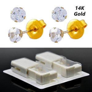 2PCS Real Solid Yellow Gold Stud Earring Disposable Ear Piercing Puncture Gun Tool Kit No Cross-Infection For Sensitive Ears