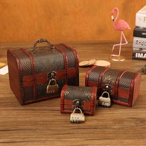 Vintage Retro Wood Box With Lock Storage Container Trinket Jewelry Bracelet Pearl Ring Wooden Treasure Case Chest Organizer Pouches, Bags