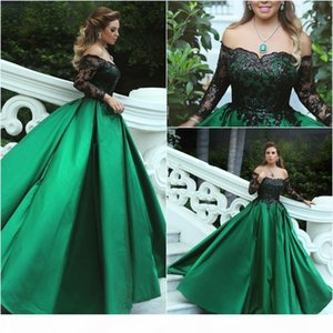 Green Black Ball Gown Evening Dresses Off Shoulder Long Sleeves Sequins Lace Satin Plus Size Evening Gowns Formal Dresses