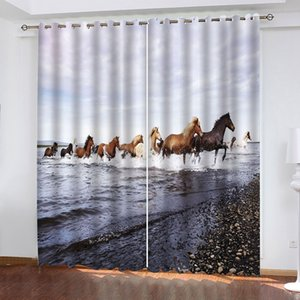 Blackout Window Drapes Luxury 3D Curtains For Living room Bedroom Office Hotel Home Galloping Horses Curtain