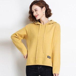 Hengyuanxiang à manches longues à capuche pour femmes chutes / hiver 2020 nouveau chandail de fond occasionnel Knitwear coréen