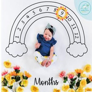 Carpets Baby Letter Flower Print Blankets Creative Soft Newborn Wrap Swaddling Fashion Milestone Blanket Photography Backdrops ZWL05