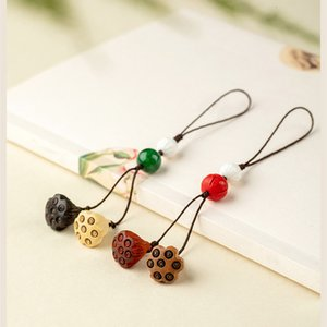 Mahogany little lotus seed mobile phone chain women's short U disk cute key rope pendant men's and women's antique Pendant