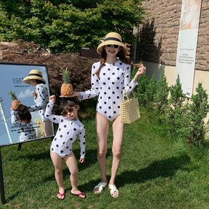 One-Pieces Long Sleeve Dot Swim Wear For Mother And Kids Swimwear Swimming Trunks One-piece Swimsuit Beach Summer Girls Clothes