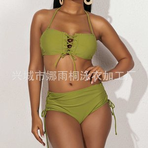 swimwear swimsuit solid color high waist Sexy return change mind do not shoot