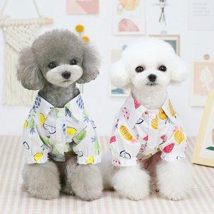 개 옷 여름 해변 셔츠 귀여운 프린트 하와이 캐주얼 애완 동물 여행 파인애플 꽃 짧은 소매 고양이 블라우스 의류