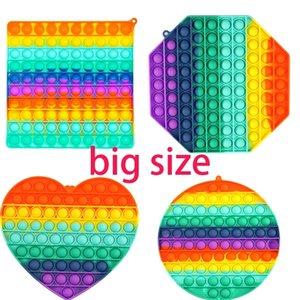 BIG SIZE Colorful Push Pops Fidget Bubble Sensory Squishy Stress Reliever Autism Needs Anti-stress Pop-It Rainbow Adult Toys