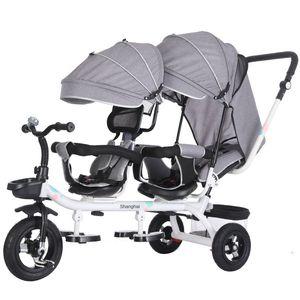 Çok İşlevli Bebek İkiz Arabası Üç Tekerlek Arabası Çift Üç Tekerlekli Bisiklet Arabası Dönen Döner Koltuk Puset Arabaları