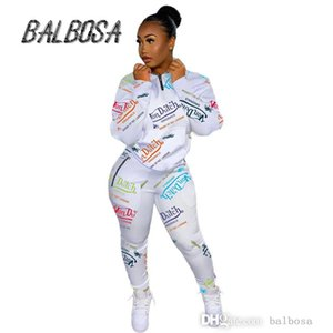 Jogger Women Tracksuits Two Piece Set Long Sleeve Chic Printed Sweatshirt Top And High Waist Sport Pants Casual Outfits
